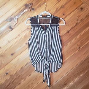Love Tree Black/White Stripe Hi-Low Tie Top